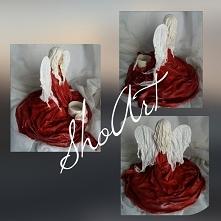 Anioł zimna porcelana oraz utwardzona tkanina-projekt autorski MadamAngel