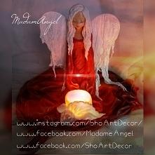 Anioł zimna porcelana oraz utwardzona tkanina-projekt autorski MadamAngel-moje prace na  podanych stronkach na fotce;-)