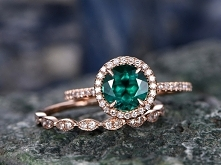 7mm Round Emerald Wedding Ring Set 14K Rose Gold Promise Ring For Her Marquis...