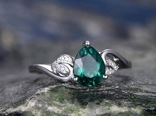 Emerald wedding Ring-Pear cut emerald engagement ring Set-14k rose gold-handm...