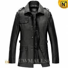CWMALLS® Garland Custom Black Leather Overcoat CW808023[Custom Made Gift]