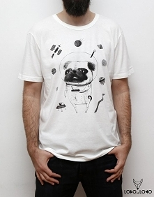 Koszulka z Mopsem w kosmosie
