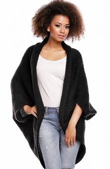 PeekaBoo 30052 sweter czarny Sweter typu narzutka, wykonany z miękkiej i puchatej dzianiny, luźny modny fason, rozmiar uniwersalny oversiz