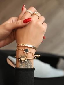 Fashion Rhinestone Sun And Moon Layered Bracelets Rozmiar: Kolor: gold