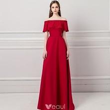 Stylowe / Modne Burgund Sukienki Wieczorowe 2018 Princessa Przy Ramieniu Kótk...