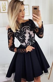 Bicotone 2137-06 sukienka czarna Efektowna wieczorowa sukienka, góra dopasowa...