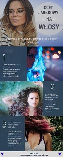 Infografika o stosowaniu octu jabłkowego na włosy