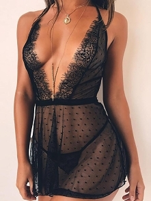 Eyelash Lace Halter Deep V ...
