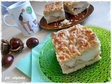 Ciasto kruche z jabłkami i budyniem  CIASTO: 45 dag mąki pszennej – u mnie ty...