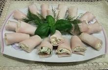 Roladki z szynki faszerowane serem