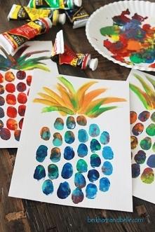 na nude z dzieciakami farbkowy ananas z odcisków palców