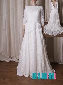 LJ216 Klasyczna pełna koronka i głębokie v suknie ślubne
