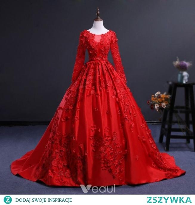 4fc3754afe Uroczy Czerwone Przezroczyste Sukienki Na Bal 2018. Suknia Balowa Wycięciem Długie  Rękawy ...