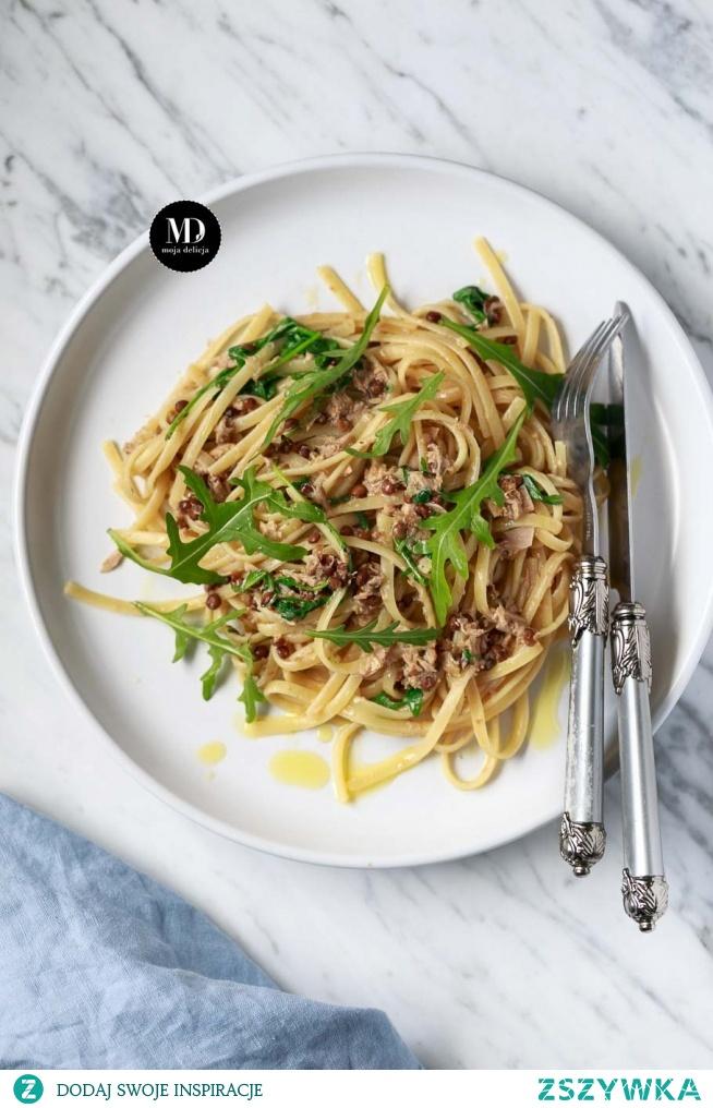 Makaron z tuńczykiem, cytryną, rukolą i soczewicą //Tuna, Lemon, Lentil & Rocket Spaghetti, Bavette pasta
