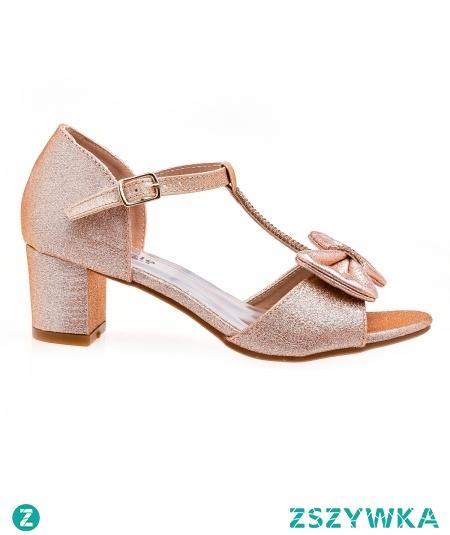 Sandały dla dziewczynki do sukienki. Sandałki złote dla dziewczynki na obcasie poleca sklep z obuwiem dla dzieci styloweobcasy pl