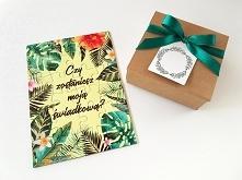 """Puzzle dla świadkowej z pytaniem """"Czy zostaniesz moją świadkową?"""" i z motywem tropikalnej dżungli i liści"""