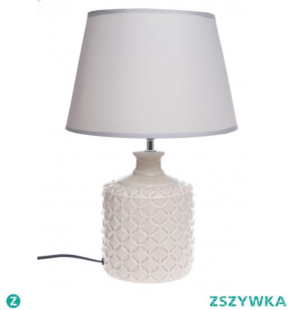 Lampka nocna stołowa ceramiczna kremowa ze wzorem