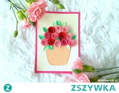Śliczna kartka okolicznościowa z papierowymi różami - tutorial już dostępny na Lubię Tworzyć! ;)