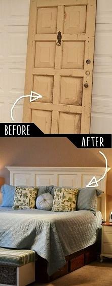Wezgłowie łóżka ze starych drzwi DIY