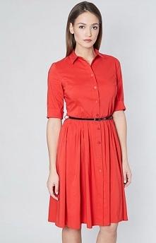 Click Fashion Lina sukienka koralowa Dzienna sukienka typu szmizjerka, dostępna w trzech modnych kolorach, rozkloszowany fason bez podszewki