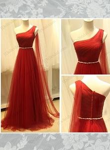 PD16010 Czerwony kolor bogini jedno ramię przewiewne tiulowe suknie wieczorowe