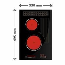 Mała innowacyjna płyta gazowa o szerokości 33cm posiada dwa palniki i jedno dodatkowe pole do podgrzania model płyty gazowej SOLGAZ 2+1