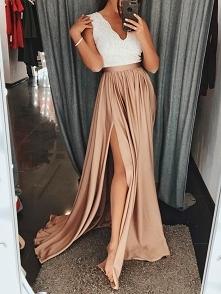 Lace Splicing High Split Pleated Maxi Dress Rozmiar: S, M, L, XL Kolor: champagne