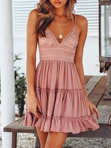 Ruffled Lace Tied Open Back Casual Slip Dress Rozmiar: S, M, L, XL Kolor: pink