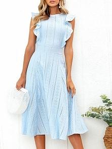 Solid Flutter Sleeve Fit & Flare Dress Rozmiar: S, M, L, XL Kolor: blue