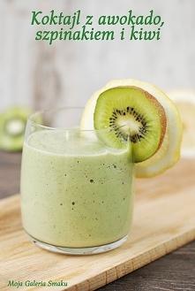Składniki:      1/2 awokado     2 garści szpinaku     1 jabłko     1 kiwi     1/2 mielonego siemienia lnianego     sok wyciśnięty z cytryny (do smaku)     1,5 łyżki migdałów lub...