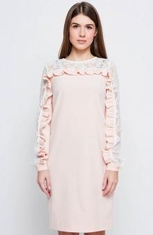 Cover GR2167 sukienka pudrowa Elegancka sukienka o prostym kobiecym kroju, wy...