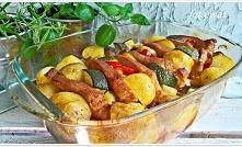 Schab marynowany pieczony w warzywach