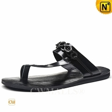 CWMALLS® London Black Leather Thong Sandals CW708303[Global Free Shipping]