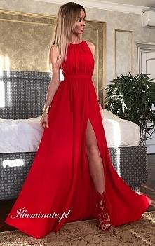 Długa czerwona sukienka z k...