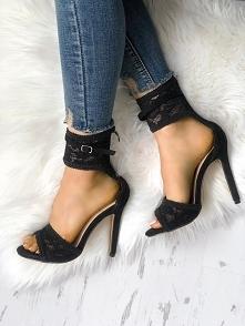Open Toe Lace Buckle Thin Heel Sandals Rozmiar: US4.5, US5.5, US6, US7, US8, ...