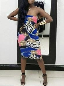 Chain Print Strapless Bodycon Midi Dress Rozmiar: S, M, L, XL, 2XL Kolor: dar...