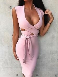 Solid Criss Cross Cutout Tied Waist Midi Dress Rozmiar: S, M, L, XL Kolor: pink