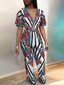 Deep V Striped Floral Print Belted Jumpsuit Rozmiar: S, M, L, XL Kolor: Multi...