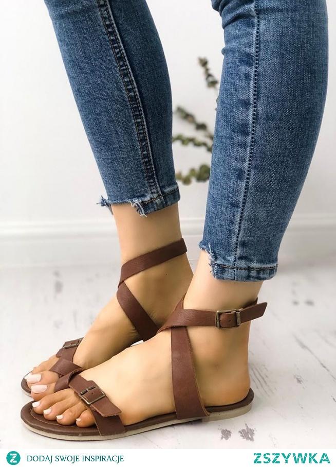 Solid Criss Cross Metal Buckle Flat Sandals Rozmiar: US4.5, US5.5, US6, US7, US8, US8.5, US9.5, US10, US11 Kolor: brown
