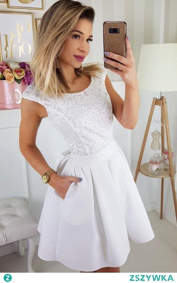 Bicotone 2141-04 sukienka ecru Elegancka sukienka, w której będziesz wyglądać zjawiskowo, góra dopasowana pokryta pięknym haftem, dół rozkloszowany