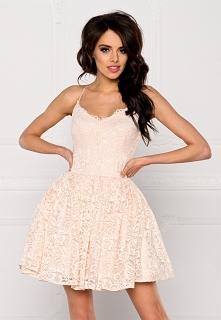 LIVIA - Koronkowa sukienka na ramiączkach nude Kliknij w zdjęcie by przejść d...