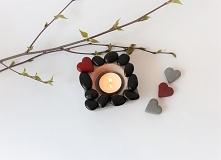 Oryginalny, bardzo ładny ręcznie wykonany betonowy świecznik na tealighty,ude...