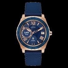 Guess C1001G2 męski Smartwatch wykonany ze stali w odcieniu złota na silikonowym niebieskim pasku. Wyposażony w dotykowy panel z możliwością szybkiego korzystania z aplikacji. A...