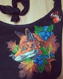 Ręcznie malowana torba z lisem