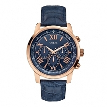 Guess W0380G5 męski zegarek w ciekawym połączeniu koloru złotego koperty i niebieskiego paska. Wykonany ze stali i skóry. Aby przenieść się do sklepu kliknij w zdjęcie :)