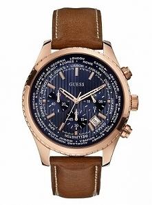 Guess W0500G1 duży zegarek męski na skórzanym pasku w kolorze brązowym ze stalową, złoconą kopertą. Aby przenieść się do sklepu kliknij w zdjęcie :)