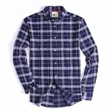 Alex Vando Mens Button Down Standard-fit Long-sleeve Washed Plaid Shirt Navy