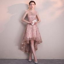 Piękne Rumieniąc Różowy Sukienki Koktajlowe 2018 Princessa Cekiny Wycięciem Bez Pleców Bez Rękawów Asymetryczny Sukienki Wizytowe