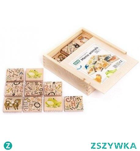 """Witajcie, dziś """"drewniana edukacja""""  Popularna wśród dzieci, wykonana z drewna Gra Memory Zwierzęta w zestawie Bajo 99690.   36 bloczków z obrazkami  przedstawiającymi zwierzęta leśne, domowe i z różnych zakątków świata.  Całość przechowujemy w solidnym, zamykanym drewnianym pudełeczku.  Świetna gra edukacyjna dla najmłodszych pociech już od 18 miesięcy."""