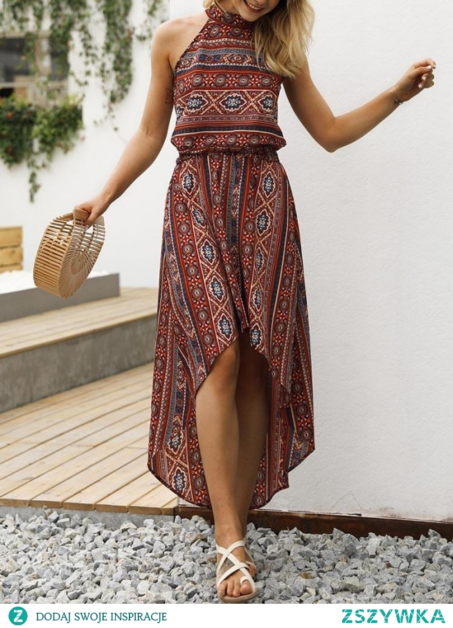 Tribal Print Halter Dip Hem Casual Dress Rozmiar: S, M, L, XL Kolor: red